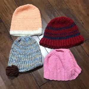 Lot of 4 Hand Knitted Crocheted Fall Winter Hats